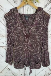 BCBGMaxAzria Knit Sweater Cardi Hood sz M